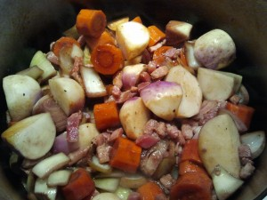 Navets, carrots, lardons & garlic - perfect flavours for winter